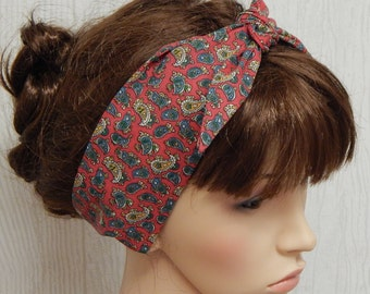 Rockabilly tie up hair scarf, women's self tie headband, cotton head scarf, 50's hairband, pin up head wrap, red paisley print headscarf
