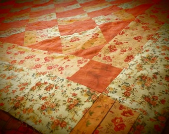 Victorian Lap Quilt Top - Salmon and Cream