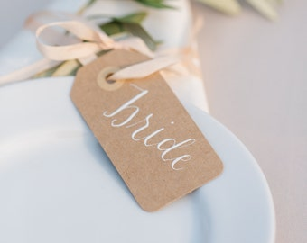 Modern Calligraphy Wedding Place Card - featured on Style Me Pretty!