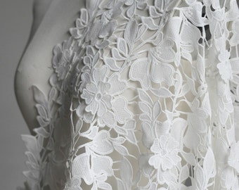 TheFabriqBoutique - 3D Floral Guipure Lace fabric, Elegant Flower Embroidery, Chemical Lace Fabric