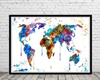 World map, Abstract, watercolor print, watercolor world map, watercolor world map, Office Art (2276b)