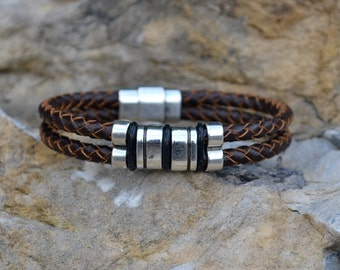 Dark Brown Double Strand Leather Bracelet/Antique Silver Magnetic Clasp/Antique Silver Spacer/Braided Leather/Men's Bracelet