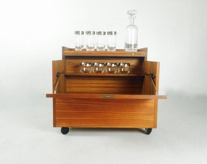 SOLD Mid Century Modern Rolling Liquor Cabinet Haug Snekkeri