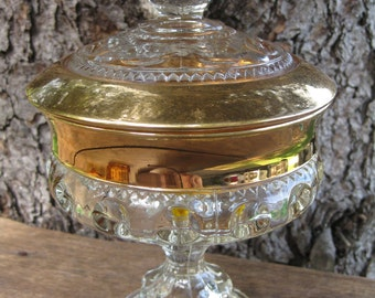 Indiana Glass King's Crown Thumbprint Lidded Compote in Gold Flash