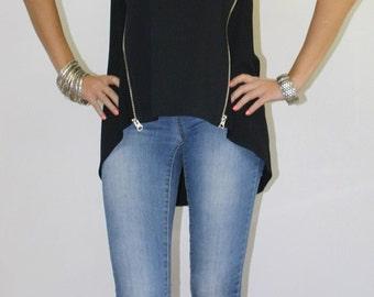 Zipper top/Bike style top/Black top/Asymmetric top/Zips top/Black tunic/Loose top/Black blouse