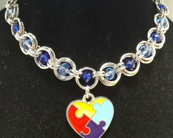 Autism jewelry - Autism awareness jewelry - handmade chainmaille bracelet - Autism awareness chainmaille charm bracelet