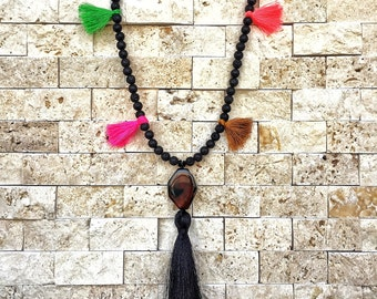 Tassel Necklace, Womens Necklace, Lava Necklace, Necklace For Women, Gift For Her, Gemstone Necklace, Boho Necklace, Beaded Necklace, Agate