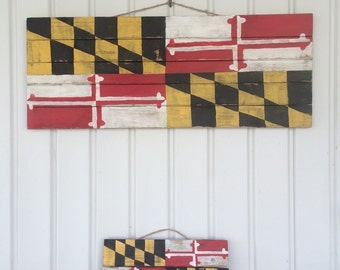 Maryland Flag Distressed Rustic Wooden Sign