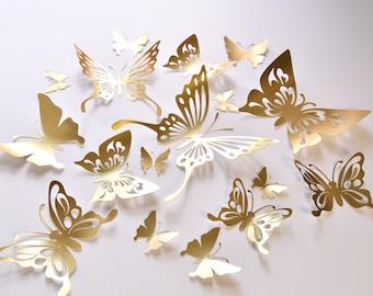 16 Gold Butterfly Wall Decals, Gold Butterfly Wedding Decoration, Gold Wedding Butterflies, Gold Paper Butterflies