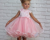 Semi glitz pageant baby doll dress fancy party stage face national beauty contest for girls