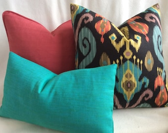 Ikat Designer Pillow Cover Set - 3pc - Black/ Coral/ Teal