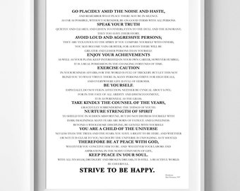Desiderata A3 Printable Print, Downloadable,Literary Quote, Wall Art, Wall Art, A3 Instant Download, Printable