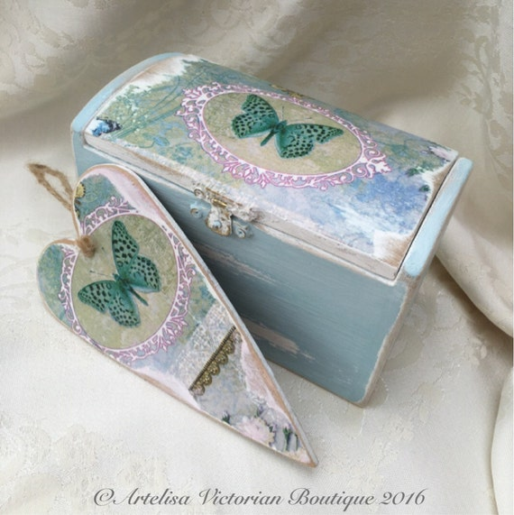 Decoupage jewellery box shabby elegance chic wooden box for Bedroom gifts for her