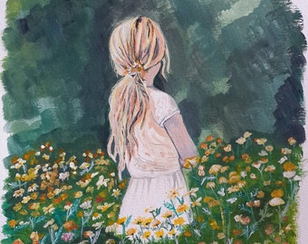 Girl in Field of Flowers, Original Acrylic Painting
