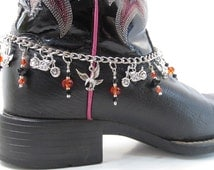 Harley Davidson Boot Bracelet, Banging Boot Bracelets, Motorcycles and Eagles Boot Chain, Black and Orange Jewelry, Biker Boot Chain