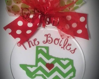 Personalized Christmas Ornaments, Monogrammed Ornaments, acrylic, Personalized with your name, by The Walnut Street House