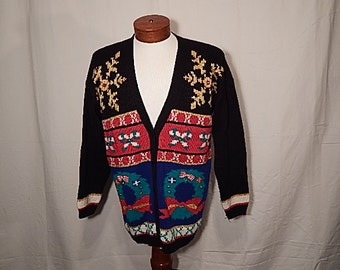 SALE 50% Off UGLY CHRISTMAS SWEATEr Vintage Large L Giant Snowflakes Wreaths and Candy Canes