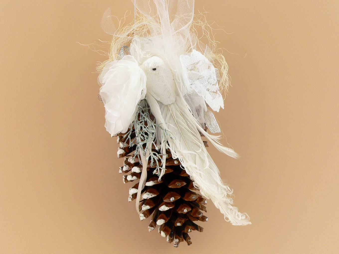 White dove ornament - Giant Pine Cone Christmas Ornament With White Dove Cottage Pine Cone Christmas Ornament Shabby