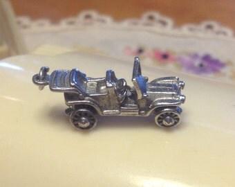 Vintage Sterling Silver 3-D Convertible Car Charm / Pendant Moveable Wheels /