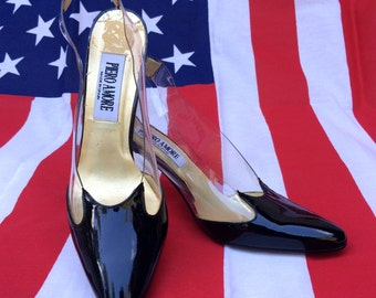 1990's, clear, patent leather, slingback pumps, women's size 8
