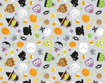 Ghouls and Goodies Main Gray Glow in the Dark by Riley Blake Designs - Halloween - Quilting Cotton Fabric - choose your cut