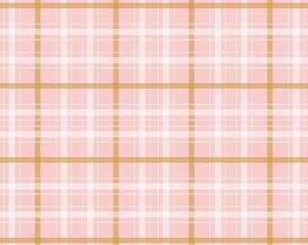 When Skies Are Gray Plaid Pink SPARKLE by Riley Blake Designs - Gold Metallic - Quilting Cotton Fabric - by the yard fat quarter half