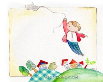 Nursery decor storybook, Print illustration, Paper Boat, Watercolor, Wall art decor,  Art for Kids,  Art For Children, Wall Art For Nursery,