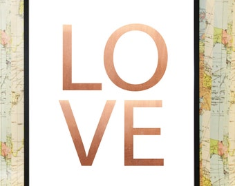 Copper Love Alphabet print poster home art decoration