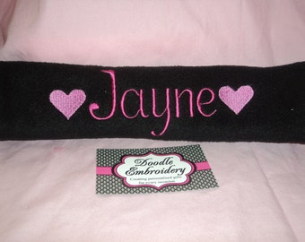 ONE Personalised Embroidered Seat Belt Cover / Pad  ... football, soccer, heart, stars, butterfly
