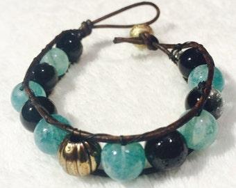 Turquoise Beaded Leather Cord Bracelet