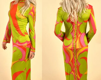 Vintage Pucci Silk Jersey Maxi Goddess Dress Stunning