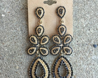 Gold and Black Chandelier Earrings