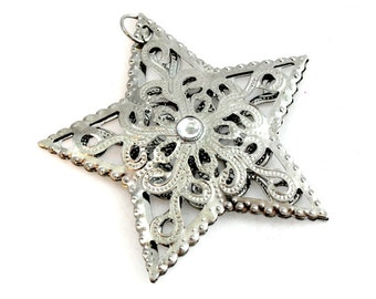 Silver Metal Star Pendant. Silver Star Pendant. Cut Out Metal Pendant. Metal Cut Out Star Pendant. Silver Star Pendant for Necklaces 63mm