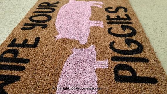 Wipe Your Piggies Custom Cute Pig Handpainted Welcome Doormat