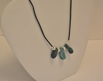 Turquoise/silver bead necklace