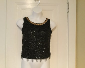 60's MADMEN Vintage Black BEADED SEQUIN Fringe Shell Top Size Small Crop Top Bombshell Hollywood