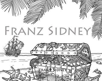 Pirate chest treasure island