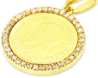 Gold Medallion Necklace, Gold Coin Pendant Necklace, Unique Oriental Sovereign 18K Yellow Gold Pendant, CZ Round Pendant