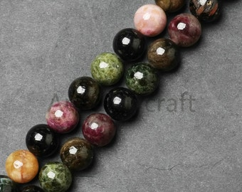 Dark Color Genuine Tourmaline Semi Precious Stone Beads, Smooth 4 6 8 10 12mm Loose Tourmaline Beads in Bulk Wholesale