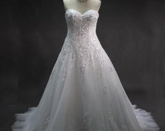 Sweetheart Neckline Crystal Lace Wedding Dress A-line