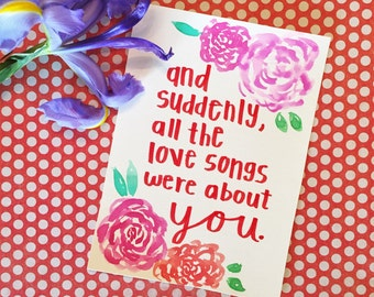 Love Songs, typography, watercolor