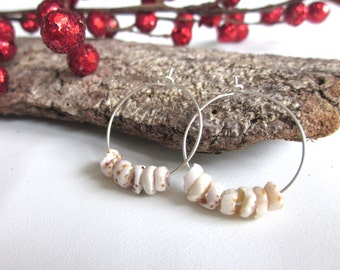 Mini Puka Shell Hoop Earrings
