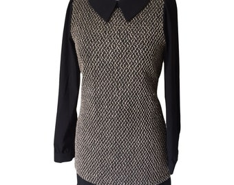 1960's Style Mod Mini Woollen Dress with Long Sleeves and Boat Collar, Shift Dress, Winter Dress