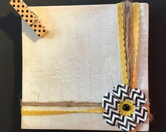 Grey and yellow white washed picture frame/holder.