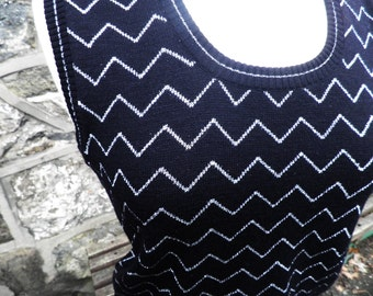 Black and Silver Lurex Tank Top  Size S - M