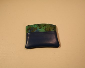 Vintage 1960's mod coin purse green blue flower power zippered vinyl cosmetics pouch case