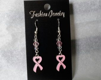 Breast cancer awareness earrings. Nickel free.