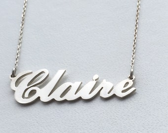 Personalised Carrie Style Name Necklace-925 Sterling Silver-Choose any name-Birthday,Bridesmaids,Valentines Day gift