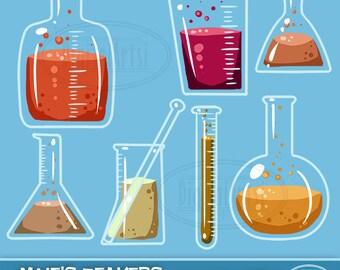 Science Clipart - Beaker ClipArt - Digital Download - Beakers Science Chemistry