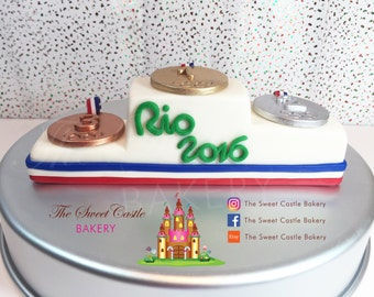 Fondant Olympic Podium with Medals Cake Topper
